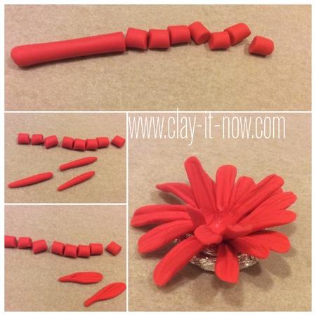 gerbera daisy clay ring -  how to make gerbera daisy clay - step 2