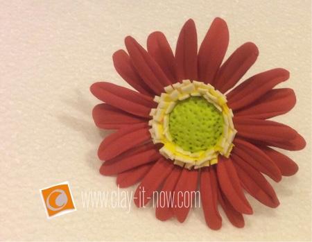 gerbera daisy clay ring-how to make gerbera daisy clay