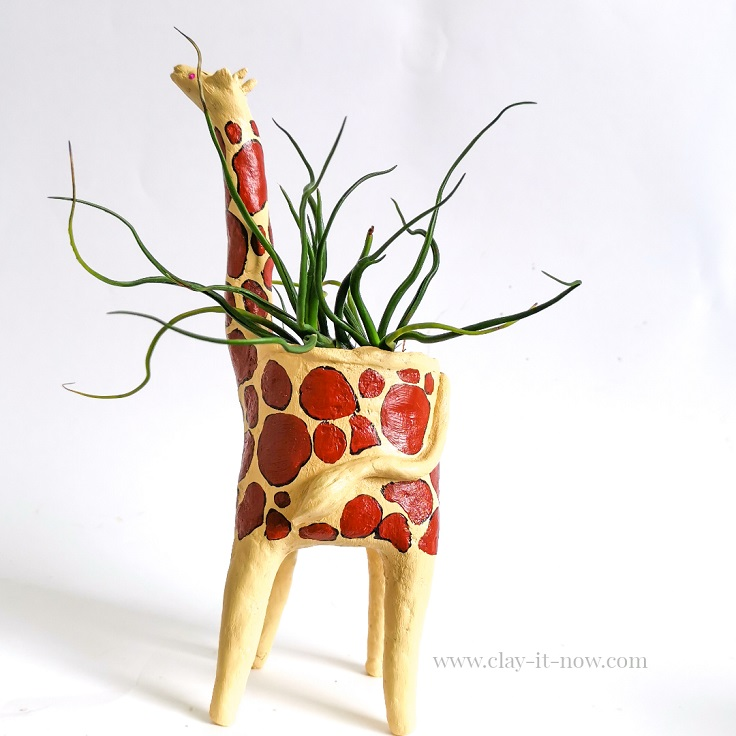 giraffe planter - homemade paper clay tutorial - before painting