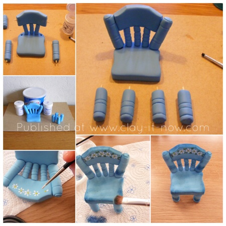 Miniature vintage chair in cold porcelain or gum paste - step by step guide