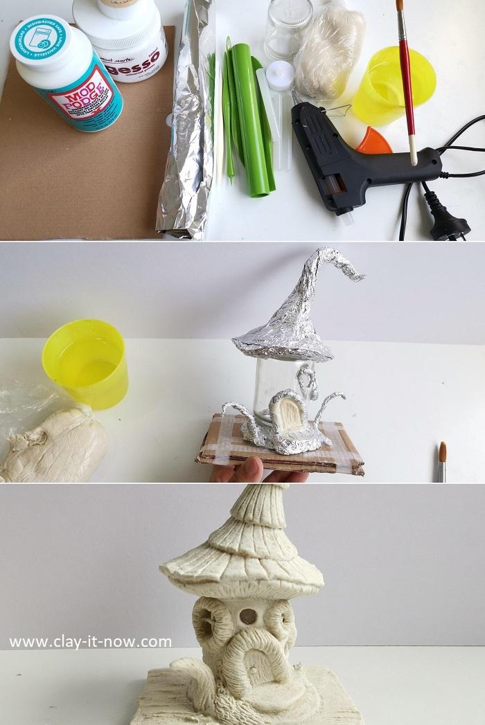 how to make blue fairy house with air dry clay - homemade clay - DIY Fairy House