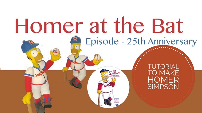 how to make homer simpson-baseball hall of fame, celebration of 25th anniversary episode Homer at the Bat