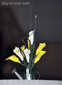 miniature clay art, mini calla lily