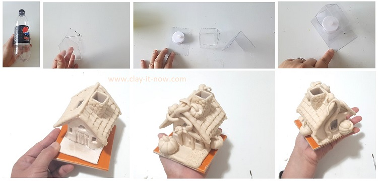 little pumpkin cottage house DIY with air dry clay or salt dough.