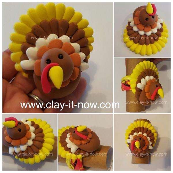 thanksgiving turkey clay, turkey, thanksgiving, turkey clay napkin ring-video tutorial